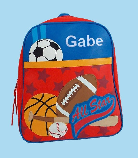 Personalized Stephen Joseph GoGo Backpack NEW STYLE SPORTS Themed Bag in Blue