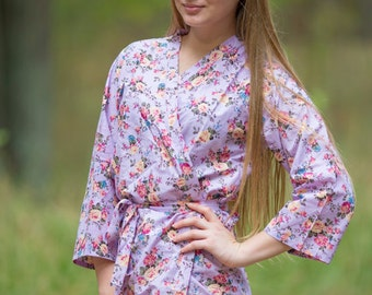 Lilac Vintage Chic Floral Patterned Robe | Kimono Style getting ready robe, bridal shower gift, dressing gown, Floral Robe