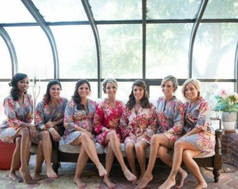 Rosy Red Posy Bridesmaids Robes | Kimono Crossover Robe Spa Wrap Perfect bridesmaids gift, getting ready robes, Weddingl shower party favors