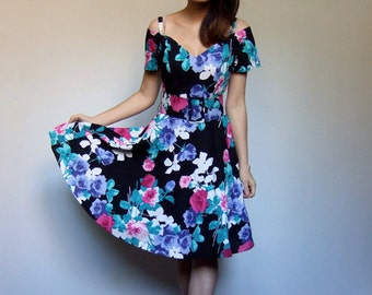 80s Floral Sweetheart Sundress Off the Shoulder Full Skirt Black Cotton Party Dress Women - Small S
