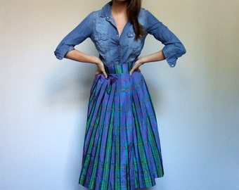 Plaid Skirt Holiday Skirt Vintage 60s Skirt Blue Green Red Party Skirt - Medium to Large M L