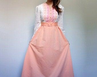 70s Peach Dress Long Sleeve Maxi Dress Peasant Dress Paisley Dress Boho Dress Hippie Orange Dress 1970s Maxi - Small to Medium S M