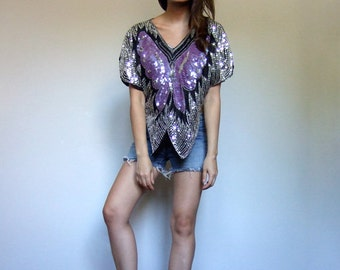Butterfly Top 70s Sequin Top Vintage Cape Poncho Purple Silver Shirt Metallic Top - Small to Medium S M