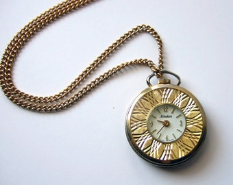 Gold Watch Necklace Vintage 80s Pocket Watch Nordam Swiss Made Vintage Watch Wind Up Watch