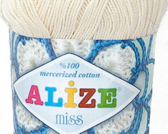 Alize Miss crochet thread size 10, 100% mercerized cotton, #62 off-white/cream
