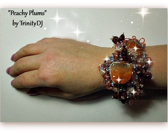 BR-085-2016-123 - Peachy Plums - Bead embroidered bracelet, bead woven bracelet, beaded cuff, embellished bracelet, beadweaving