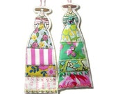 Set of Two Doll Decorations Handmade Flat Fabric Long Dresses Lady Ornaments Tiny Dolls Set Of Two Flower Dressed Ladies