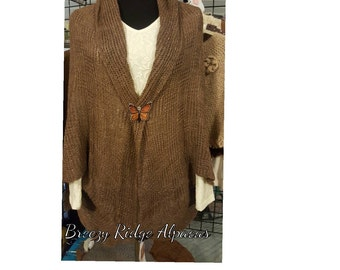 Suri Alpaca Jacket/Wrap, Natural Color Fiber, Locally Grown Alpaca, Handmade Alpaca Sweater, One Size