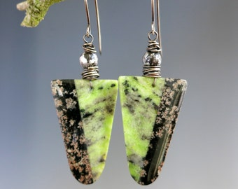 Snowflake Obsidian Earrings, Obsidian & Serpentine Intarsia, Green and Black, Oxidized Sterling Silver, One of Kind Ready to Ship!