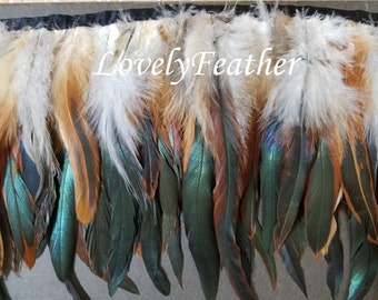 Coque feather fringe of natural irridescent 10 yards trim (7-9inches)