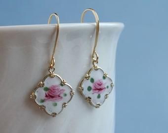 Vintage Guilloche Enamel Charms earrings, square shape, rose.