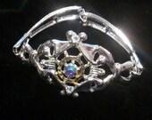 SALE silver rhinestone bracelet jewelry 80s boho bohemian dazzle punk eighties 1980s dynasty