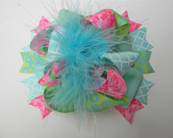 Lilly Pulitzer Hair Bow - First Impression Hair bow-Rose Hair bow - Turquoise Hot pink Lime Green