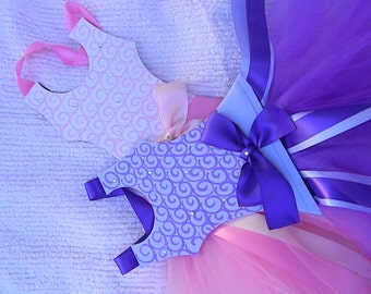 Tutu Hair Bow Holders - Pink swirl bow holder -purple swirl hair bow holder- barrette holder-ballerina bow holder