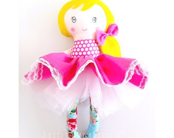 Rag Doll Dolly Custom Handmade Ava Doll with Pink Full Skirt CE marked Perfect for playtime