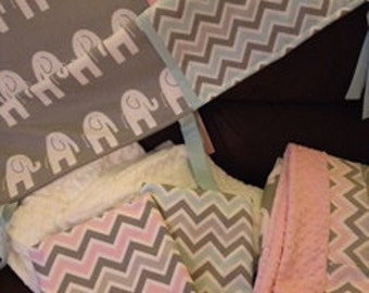 Twin aqua or pink gray grey chevron elephant Baby bedding nursery girl boy crib rail guard  set