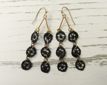 Black Lace Upcycled Earrings / Geometric Circles Modern Night Out Festive Dangly Lightweight Earrings / Unique Eco Friendly Gift for Her
