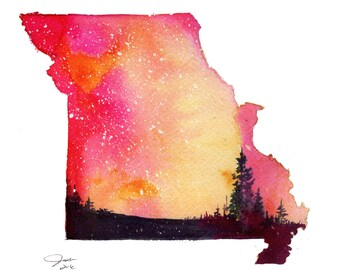 Missouri, print from original watercolor illustration by Jessica Durrant from the Painting the 50 States Project