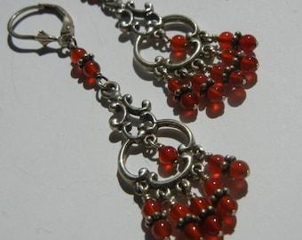 Sterling Silver Carnelian Chandelier Earrings Stone Drops Long Dangles