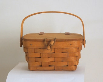Vintage Longaberger Basket Small Leather Hinge Lid Ohio Basket