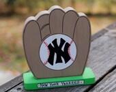 "New York Yankees 4"" - Wooden Baseball Glove - Handmade Wood Figure - Gift for NY Yankees Fan"