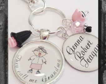 Grandma Jewelry Personalized Key Ring or Bag Tag - Grandma and her Grandkids - They call me Grandma