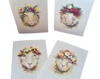 Sheep Seasons Note Cards