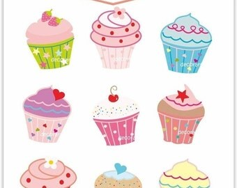 ON SALE Cupcake clipart , cupcakes clipart,  cupcake party clipart , INSTANT Download