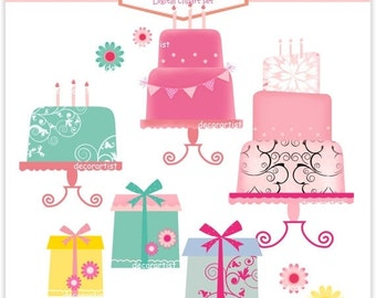 ON SALE Clipart, Instant download clipart , giftbox clipart, cake clipart, Digital clipart 3 cakes, present and flowers