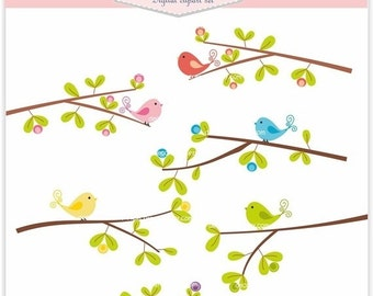 ON SALE Birds Clipart, Flowers Clipart, birds n branch 2 , INSTANT Download