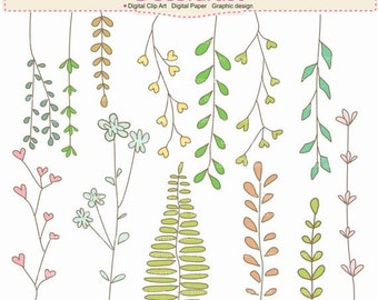 ON SALE Leafs clipart, Botanical clipart, Floral Elements clipart, leaves clipart, INSTANT Download