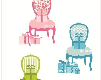 ON SALE furniture clipart , chair clipart , gift box clipart , Digital clipart for all use, furniture Louis chair , INSTANT Download