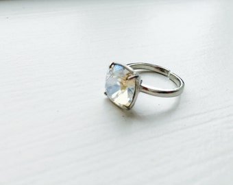 White swarovski crystal adjustable silver plated ring