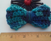Blue Bow / Bows / Crochet Bow / Applique / Craft Bows / Yarn Bows / Craft Supply /