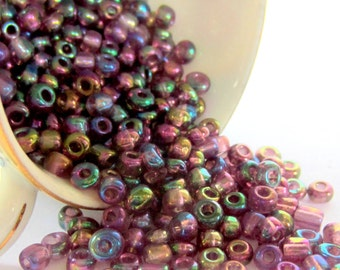 50g- 6/0 Glass Seed Beads Iris 4mm round metallic beads 176