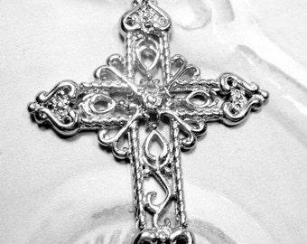 2 Silver cross filigree openwork lg cross pendant 47mm x 64mm KK73-SR