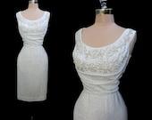Vintage 1950s 1960s Lilli Diamond Silver Lurex Beaded Shelf Bust Hourglass Cocktail Party Dress M