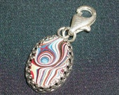 Sterling Silver Charm ~ Featuring Authentic 1958-59 Detroit Agate Fordite Straight from the Motor-City