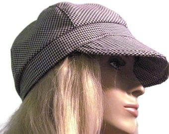 Black White Houndstooth Newsboy Cap Women