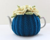 Tempting Teal - Floral Tea Cosy - in Merino Wool & Cashmere mix - Dark Teal - Size Small