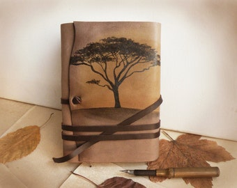 leather journal, notebook, diary in brown and beige with vintage style old paper, custom personalized quote - Sunset