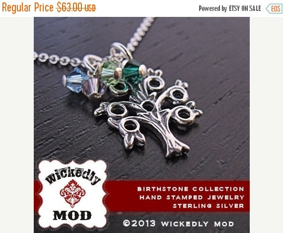 25% off sale - Mom Necklace - Family Necklace - Personalized Necklace - KRIS family tree with birth month crystals mom necklace
