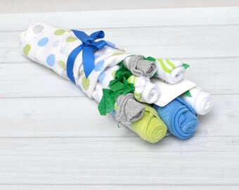 Boy Washcloth Flower Bouquet, New Baby Gift, Hospital Gift, Baby Flowers, Baby Shower Gifts, Baby Gift Set