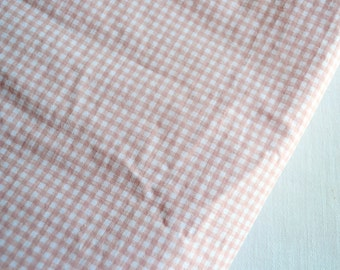 Ralph Lauren Bed Sheet - Pale Pink and White Petite Gingham - Twin Flat