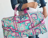 Personalized 21in Paisley Duffle and matching Cosmetic Case Monogrammed Dance Cheer Gym