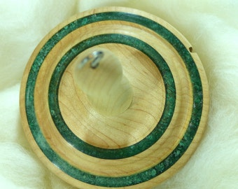 Llampetia Hand-Turned Maple/Fuchsite Drop Spindle- Top Whorl 66 Grams