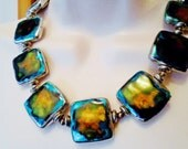 Hand Painted Vintage Necklace Choker Deep Sea Blue Turquise Sunset Gold  Oranges Valentine Gifts Abstract Designs Vintage Artisan