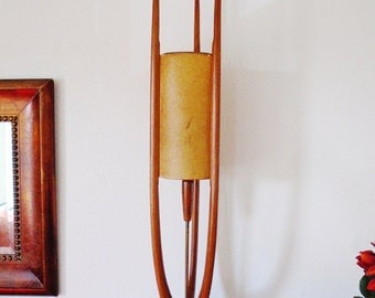 """Vintage Antique Sculptural Mid-Century Teak Wood Linen Lamp Shade Ultra Modern 60s Eames Era 40"""" Tall Extremely Rare OK To Pick Up"""