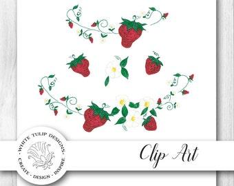 Watercolor Clipart - Strawberry Fields - Berries, Flowers, Vines, Instant Download, Handpainted, Detailed Artwork