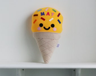 Custom Ice Cream Pillow, Custom Name Cushion